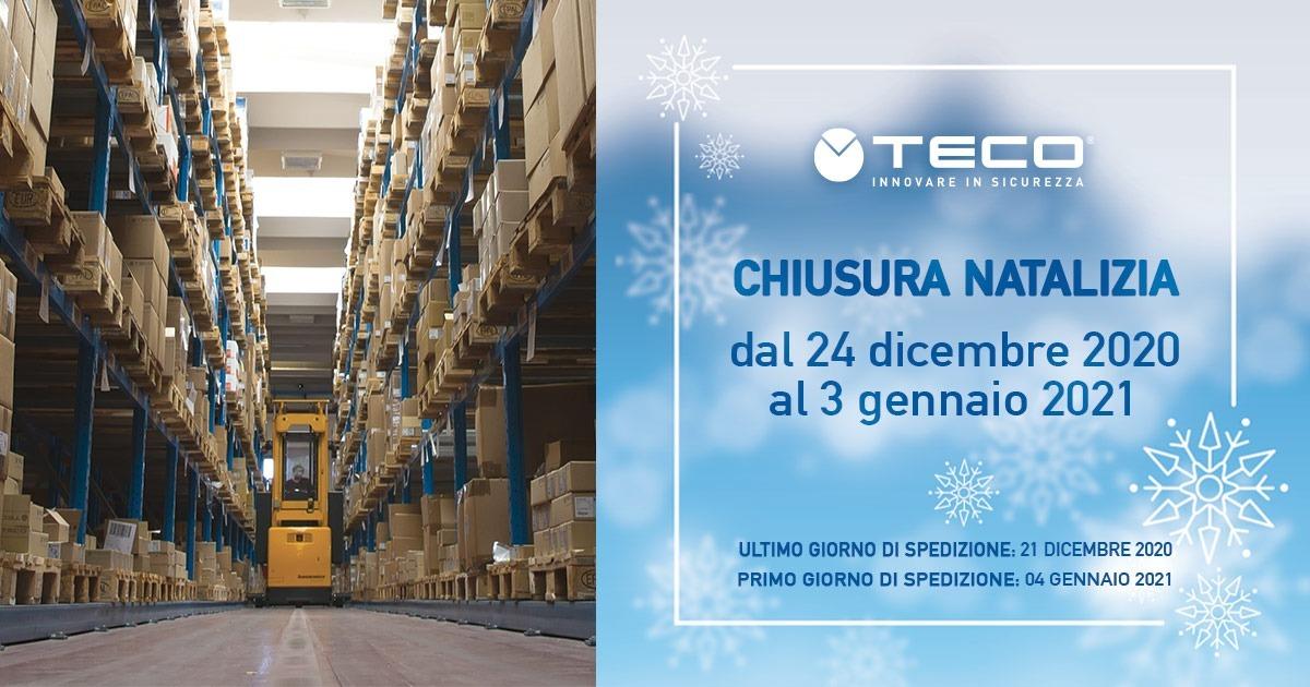 Si comunica che la ditta Teco s.r.l. rimarrà chiusa dal 24/12/2020 al 03/01/2021 per le festività natalizie