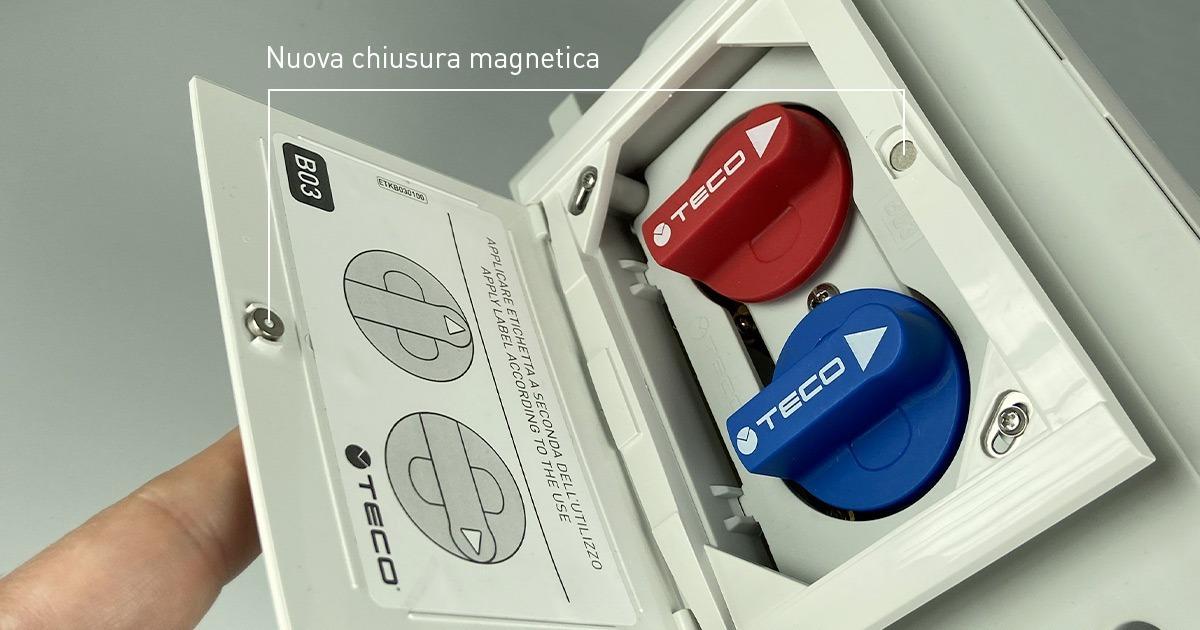 Le placche TECO con chiusura magnetica: la funzionalità si unisce all'eleganza