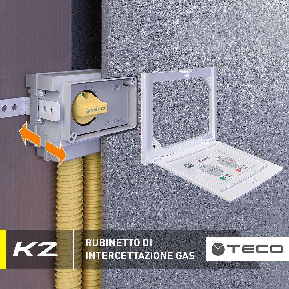 Rubinetto gas cucina K2.1 a incasso: il sistema sottotraccia dei professionisti
