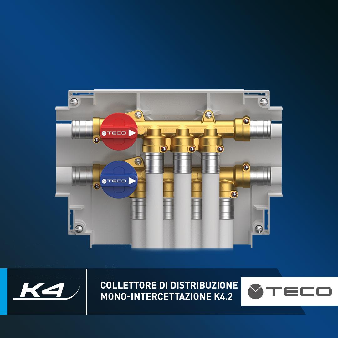 K4.2: il collettore di distribuzione acqua sanitaria mono-intercettazione