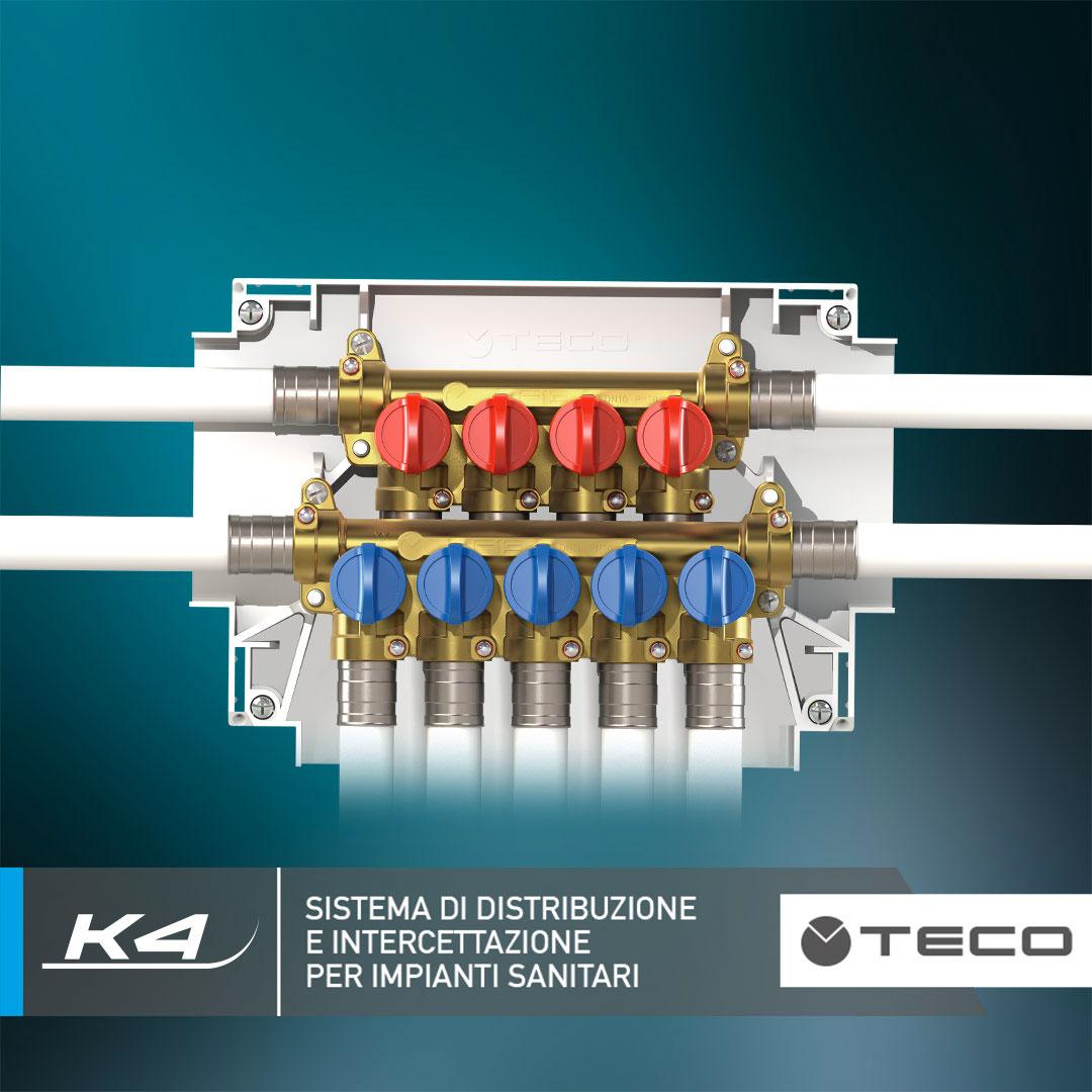 K4: collettori e valvole di distribuzione e intercettazione per impianti sanitari